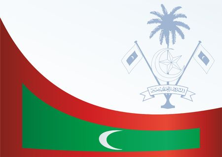 Flag of the Republic of Maldives, template for the award, an official document with the flag and the symbol of the Republic of Maldives 向量圖像