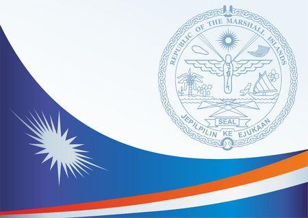 マーシャル諸島の旗賞、旗および記号をマーシャル諸島共和国の公式文書のテンプレート  イラスト・ベクター素材