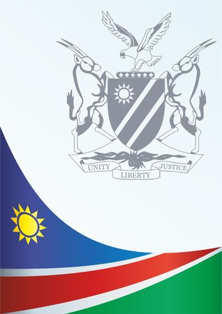 Flag of Namibia, template for the award, an official document with the flag and the symbol of Namibia