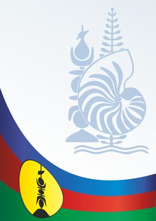 Flag of New Caledonia, template for the award, an official document with the flag and the symbol of New Caledonia, Overseas France
