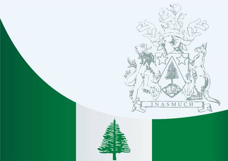 Flag of Norfolk Island, template for the award, an official document with the flag and the symbol Norfolk Island, Commonwealth of Australia