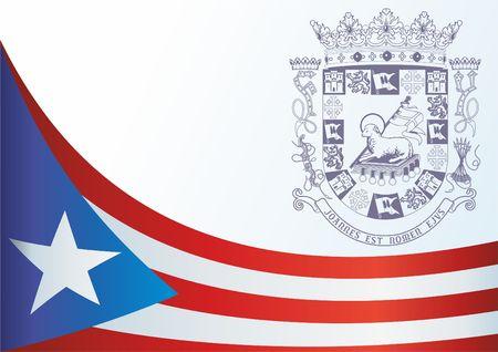 Flagge von Puerto Rico, Commonwealth von Puerto Rico, Vorlage für die Auszeichnung, ein offizielles Dokument mit der Flagge und das Symbol von Puerto Rico Standard-Bild - 83554466