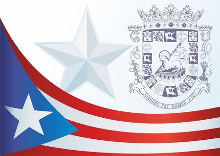 Flagge von Puerto Rico, Commonwealth von Puerto Rico, Vorlage für die Auszeichnung, ein offizielles Dokument mit der Flagge und das Symbol von Puerto Rico Standard-Bild - 83554474