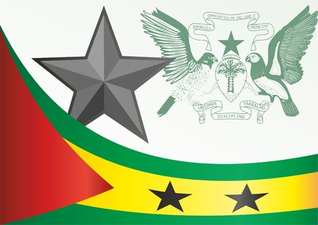 Flag of Sao Tome and Principe, template for the award, an official document with the flag and the symbol of Sao Tome and Principe