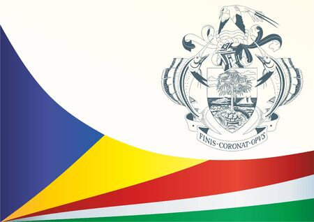Flag of Seychelles, template for the award, an official document with the flag and the symbol of the Republic of Seychelles Ilustracja