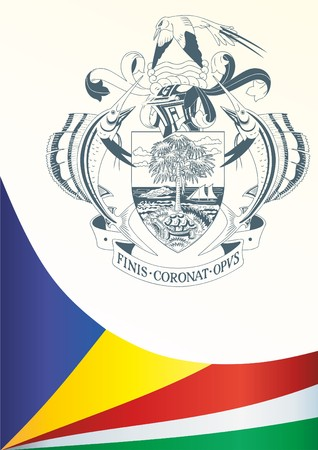 Flag of Seychelles, template for the award, an official document with the flag and the symbol of the Republic of Seychelles Illustration