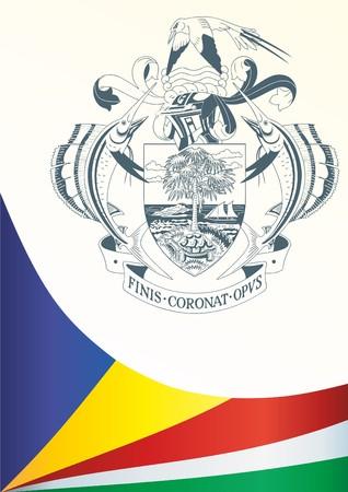 Vlag van de Seychellen, sjabloon voor de toekenning, een officieel document met de vlag en het symbool van de Republiek der Seychellen Stock Illustratie