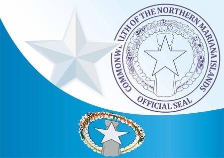 Flagge der Nördlichen Marianen, Commonwealth der Nördlichen Marianen, Vorlage für die Auszeichnung, ein offizielles Dokument mit der Flagge und dem Symbol der Nördlichen Marianen Standard-Bild - 83746488