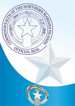 북 마리아나 제도의 국기, 북 마리아나 연방, 상장 서식지, 북 마리아나 제도의 국기와 상징이있는 공식 문서 일러스트
