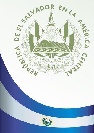 bandera de el salvador: Bandera de El Salvador, plantilla para el premio, un documento oficial con la bandera y el símbolo de la República de El Salvador