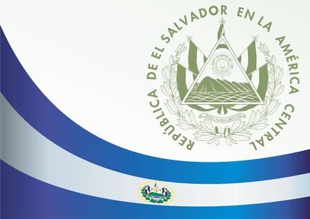 Flag of El Salvador, template for the award, an official document with the flag and the symbol of the Republic of El Salvador
