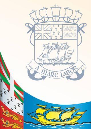 Saint-Pierre and Miquelon의 비공식 국기, 프랑스의 해외 집단, 상을위한 템플릿, Saint-Pierre와 Miquelon의 국기와 상징이있는 공식 문서