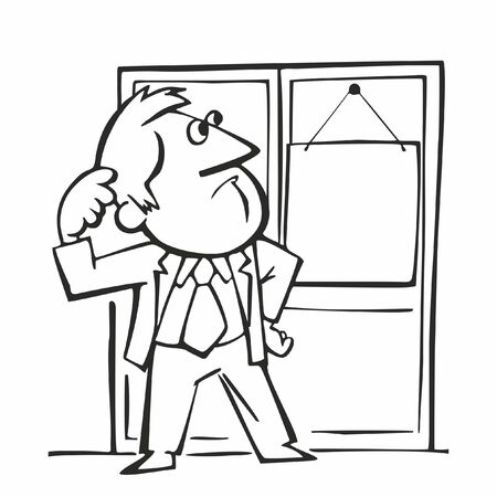 A man stands in front of the door, Retro Cartoon Vector Illustration