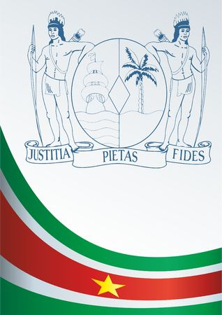 Flag of Suriname, template for the award, an official document with the flag and the symbol of the Republic of Suriname