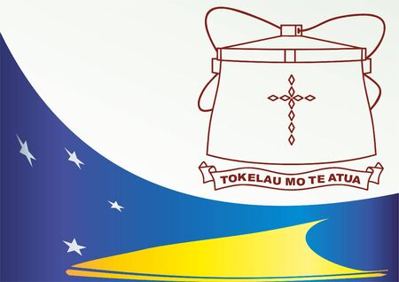 governing: Flag of Tokelau, non-self-governing territory of New Zealand, template for the award, an official document with the flag and the symbol of Tokelau Illustration