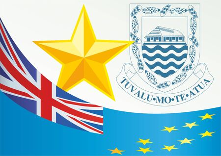 Flag of Tuvalu, Polynesian island nation, template for the award, an official document with the flag and the symbol of Tuvalu Illustration