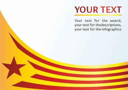 カタルーニャ、スペインの自治コミュニティの旗は非公式フラグ カタロニア語分離主義者、賞のテンプレート、カタルーニャの旗を公式ドキュメン  イラスト・ベクター素材