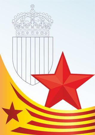 카탈루냐의 국기, 스페인의 자치 커뮤니티, 비공식적 인 플래그입니다 카탈로니아 분리 주의자, 보너스에 대한 템플릿, 카탈로니아의 국기와 상징 공 일러스트