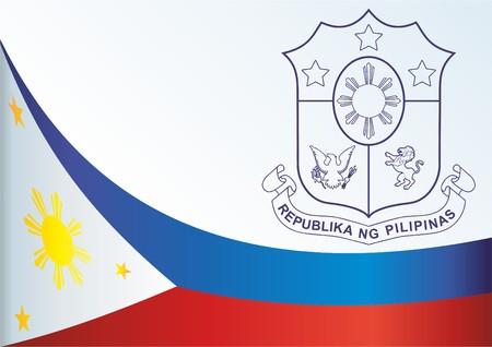 Vlag van de Filipijnen, sjabloon voor de prijs, een officieel document met de vlag en het symbool van de Filipijnen Stock Illustratie