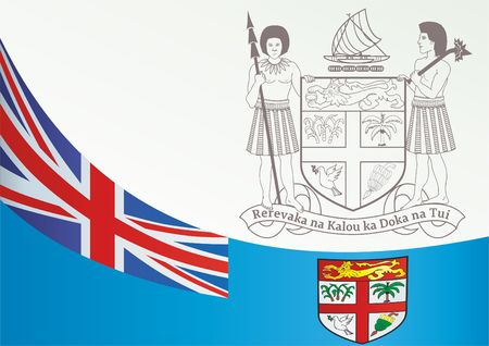 Flag of Fiji, template for the award, an official document with the flag and the symbol of Fiji Çizim