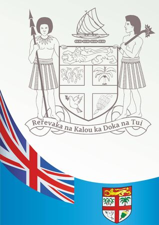 Flag of Fiji, template for the award, an official document with the flag and the symbol of Fiji Illustration