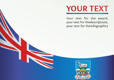Flag of the Falkland Islands, British Overseas Territories, template for the award, an official document with the flag of the Falkland Islands