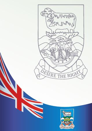 Flag of the Falkland Islands, British Overseas Territories, template for the award, an official document with the flag and the symbol of the Falkland Islands Çizim