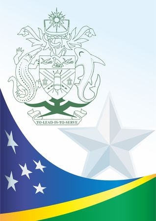 Flag of the Solomon Islands, template for the award, an official document with the flag and the symbol of the Solomon Islands Illustration