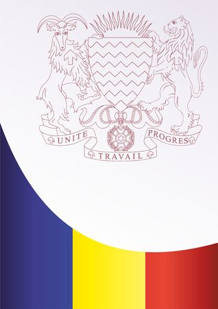 Flag of Chad, template for the award, an official document with the flag and the symbol of the Republic of Chad Иллюстрация