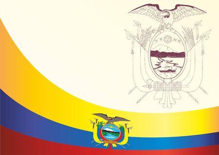Flag of Ecuador, template for the award, an official document with the flag and the symbol of Ecuador Ilustração