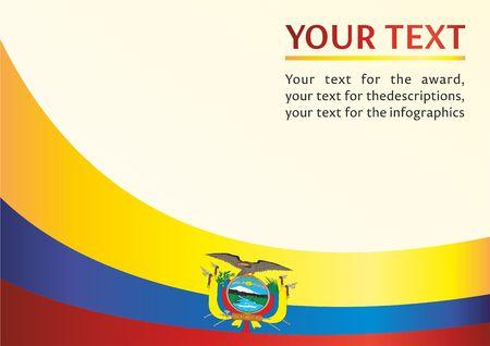 Flag of Ecuador, template for the award, an official document with the flag of Ecuador Ilustração