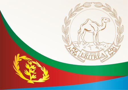 Flag of Eritrea, template for the award, an official document with the flag and the symbol of Eritrea, country in East Africa Illustration