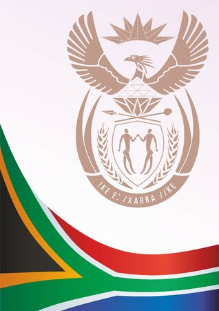 Flag of South Africa, template for the award, an official document with the flag and the symbol of South Africa