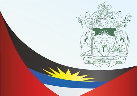 Flag of Antigua and Barbuda, template for the award, an official document with the flag and the symbol of Antigua and Barbuda Illustration