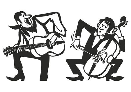 Musicians playing on musical instruments. Vector music poster background