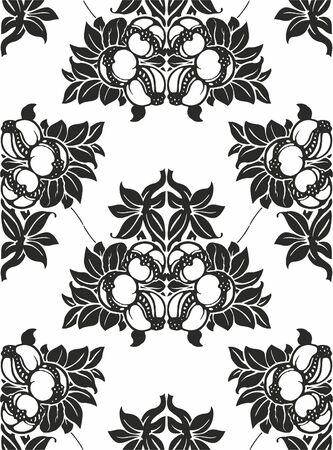 Seamless pattern with flowers and fruit. For Wallpapers and design. EPS 10.