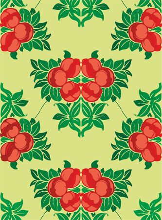 Seamless pattern with bright multicolored flowers and fruit. For Wallpapers and design. EPS 10.