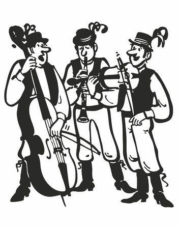 musicians in traditional costumes. Vector music poster background