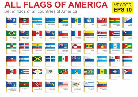 Alle vlaggen van Amerika, de volledige vectorinzameling. Volledige vector collectie Vector Set van Amerikaanse vlaggen - Noord-Amerika, Midden-Amerika, Zuid-Amerika.