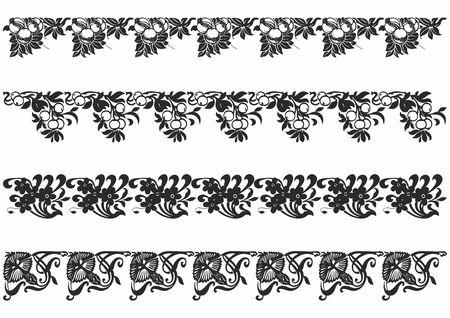 Frise sans couture vintage de vecteur pour le modèle de conception. Définir l'élément de style. Illustration de luxe pour invitations, carte de voeux, papier peint, web, arrière-plans, pochoirs et modèles
