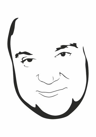 The mans face, happy and joyful person vector illustration