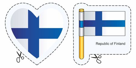 Flag of Finland. Vector cut sign here, isolated on white. Can be used for design, stickers, souvenirs.