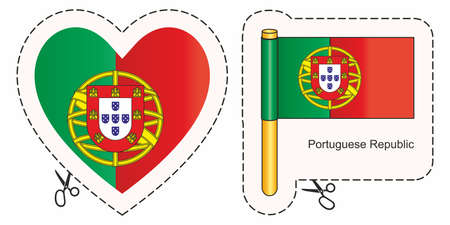 Flag of Portugal. Vector cut sign here, isolated on white. Can be used for design, stickers, souvenirs. Ilustrace