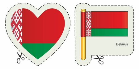 Flag of Belarus cut sign here vector Ilustrace