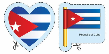 Flag of Cuba. Vector cut sign here, isolated on white. Can be used for design, stickers, souvenirs.