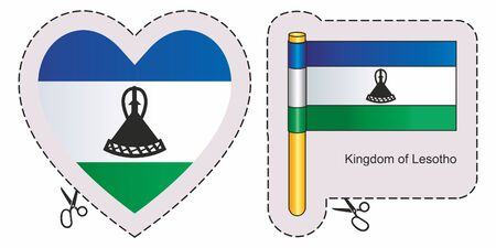 Flag of Lesotho. Vector cut sign here, isolated on white. Can be used for design, stickers, souvenirs. Illustration