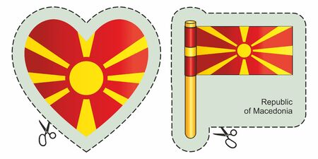 Flag of the Republic of Macedonia. Vector cut sign here, isolated on white. Can be used for design, stickers, souvenirs.