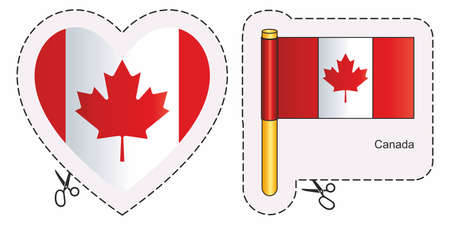 Flag Canada. Vector cut sign here, isolated on white. Can be used for design, stickers, souvenirs. Ilustrace