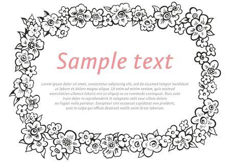 Frame of flowers, Flower Background Vector, Retro beautiful flower frame Illustration