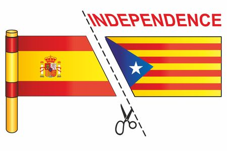 The Catalan pro-independence flag and the flag of Spain, with Independence word and cut with scissors illustration. Иллюстрация